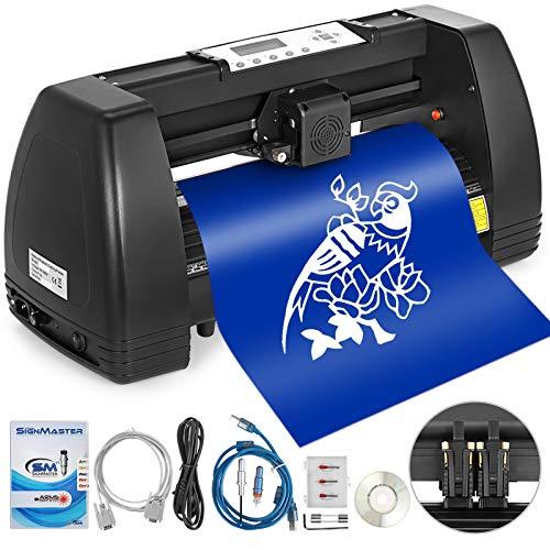 Bisujerro 350mm Plóter de Corte 14 Pulgadas Máquina de Plotter Plóter Máquina para Hacer Signo con Escáner Signmaster Software Cutter Plotter (350mm-B)