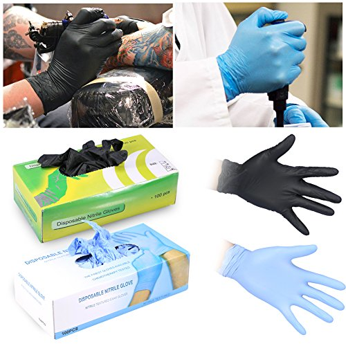 Nitrile Exam Gloves, Ultra Comfortable Non-Latex Hypoallergenic Antibacterial Medical Grade Disposable Powder Free - 100Pcs/Box (M, Blue)