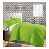 CELINE LINEN Wrinkle & Fade Resistant 2-Piece Duvet Cover Set - Protects and Covers Your Comforter/Duvet Insert, 1500 Series Luxurious 100% Hypoallergenic - Silky Soft, Twin/Twin XL, Lime