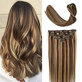 VARIO Hair Clip in Human Hair 7pcs 70g Remy Balayage Hair Chocolate Brown to Caramel Blonde Clip in Human Hair Extensions Natural Hair Extensions Straight Real Hair Extensions 18 inch