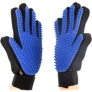Deshedding Glove - 2 GLOVES FOR DOG OR CAT - RIGHT & LEFT HAND SUPPLIED. A Gentle & Efficient Pet Hair Removal Grooming Mitt Tool, Kinder than a Rake, Comb or Brush. Great Mitten for Dogs, Cats, Horses and any Other Animals with Long or Short Hair & Fur