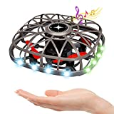 Mini Drone UFO Flying Toy Hand Operated Drones for Kids or Adults 360 Degree Flip Stunt Drone Helicopter with LED Lights & Music, Indoor Outdoor Flying Ball Toys for Boys Girls 5 6 7 8-12 Years Old