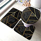 AOYEGO Geometric Bath Mat Set of 3 Pieces Triangle Gold Patchwork Collage Luxury Polygon Striped Line Bath Mats for Bathroom Absorbent Non-Slip Rug 23.6X15.7 Inch Polyester for Tub Toilet Black