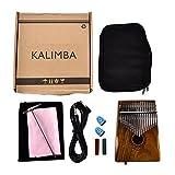 Starter 17 touches EQ Kalimba, acajou bois professionnel pouce solide piano doigt musique cadeau lien haut-parleur électrique Pick-up avec câble sac, livret de musique.