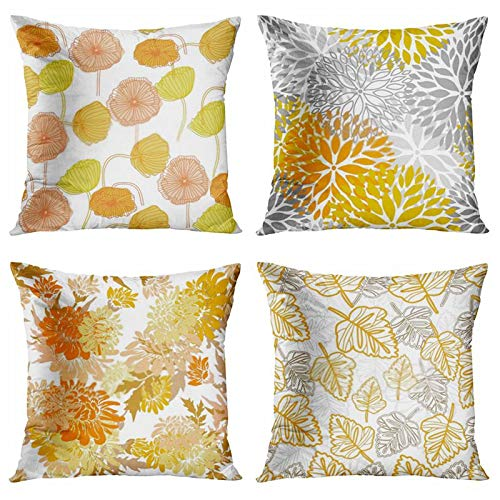 Taysta Throw Pillow Covers Set of 4 Dahlia Orange Grey Aster Poppies Floral Chrysanthemum Flowers Fall Lush Tree Leaves Herb Leaf Modern Autumn Decorative 16'x16' Cushion Pillow Cases for Sofa Bed