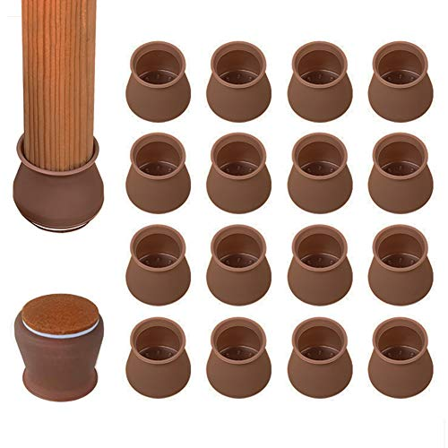 Chair Leg Floor Protectors, 16 PCS Upgraded Silicone Chair Leg Caps with Felt Pads, Elastic Silicone Furniture Protection Cover for 1-3/16 to 1-3/4 Inch Chair/Table Feet (Large, Brown)