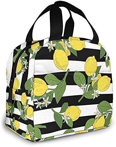 Detroit Mall Lemon Insulated Lunch Bag For Women Men Waterproo Portable girls Department store