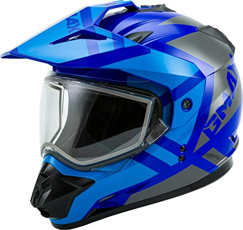 GMAX GM-11S Trapper Adult Dual Sport Motorcycle Helmet - Blue/Grey/X-Large