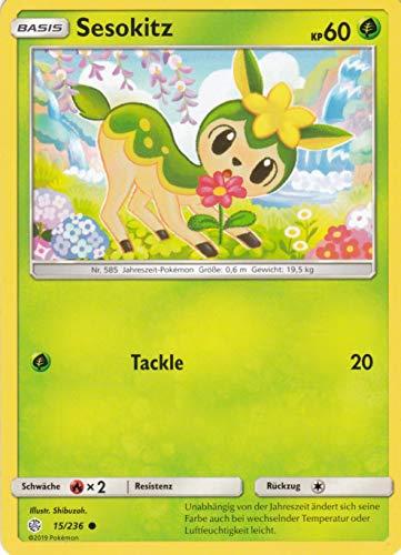 15/236 - Sesokitz - Common - Pokemon - Deutsch - Welten im Wandel - 1. Auflage im Set mit Ultra Pro Toploader und Ultra Pro Schutzhülle (Klarsicht)