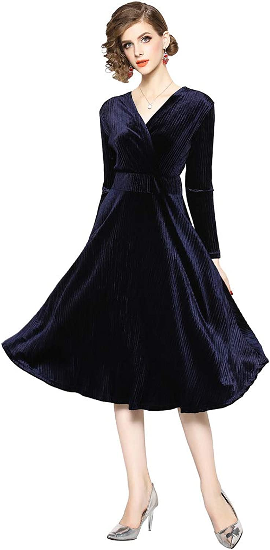 Ababalaya Women's Retro 90s Faux Wrap Empire Long Sleeve ALine Velvet Formal Evening Dress