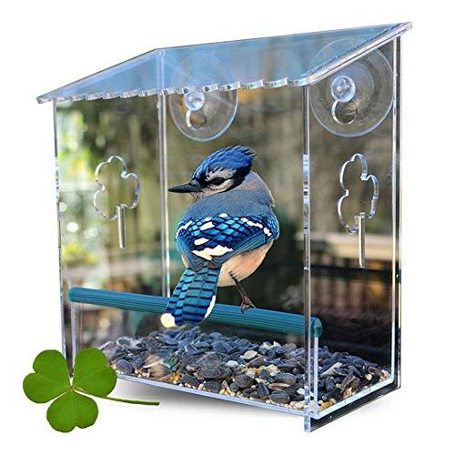 SinceY Fenster-Vogelhaus Futterspender aus Acryl, Vogelhäuschen Futterhaus Futterstation Transparent zum Aufhängen, mit Saugnäpfen, 17 x 9 x 20cm
