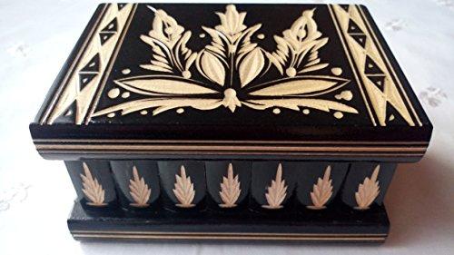 Neu schwarz Magie Rätsel Puzzle Geheimfach Schmuckkasten Herausforderung Schatz schön handwerk handarbeit Holz schatulle Zauber kästen