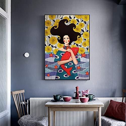 baodanla Geen frame Nordic stijl Wall Art foto Romantische Canvas prints ng Cartoon Meisje en Vissen voor Meisjes slaapkamer woonkamer Nee