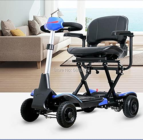 JINKEBIN Silla de ruedas eléctrica – Venta de una sola llave inteligente plegable portátil Scooter de silla de ruedas eléctrica para ancianos y discapacitados. Puede tablero (color: azul)