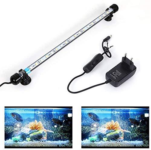 SolarNovo 18-112cm LED Aquarium-Licht Unterwasser BeleuchtungAufsatzleuchte Abdeckung Wasserdicht Lampe Stecker EU für Fisch Tank mit Fernbedienung RGB Farbwechsel (1.8 * 37cm, Weiß & Blau)