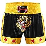 Farabi Sports Muay Thai Short Kickboxing MMA Short d'entraînement d'arts martiaux mixtes Boxing Trunk (Black/Gold, M)