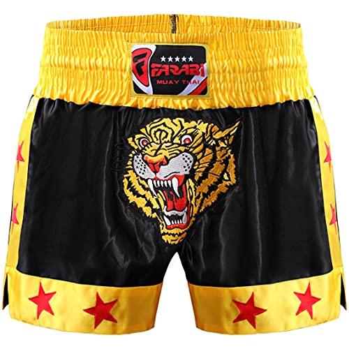 Farabi Sports Muay Thai Shorts - Pantaloncini da boxe per MMA, kickboxing, allenamento, combattimento in gabbia, esercizio fisico, fitness alle prese, corsa e arti marziali (Black/Gold, XL)