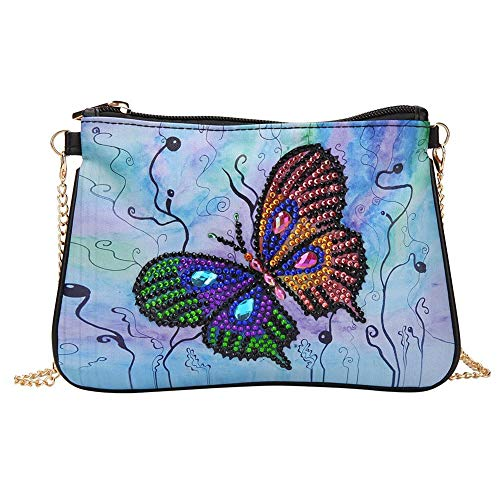 Bolsas de pintura de diamantes, DIY mariposa con forma especial de diamante de pintura de cadena de cuero Crossbody Bag