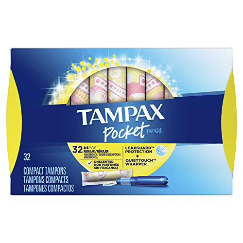 Tampax Pocket Pearl Plastic Tampons, Regular Absorbency, Unscented, 32 Count, Pack of 3