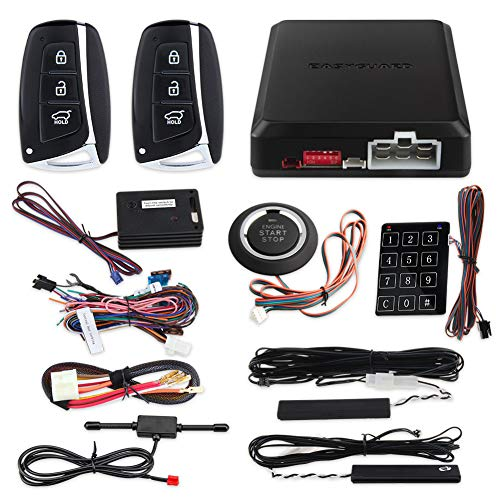 EASYGUARD EC002-HY-NS Smart Key PKE car Alarm System with keyless Entry Remote Engine Start Stop Engine Start Stop Button Touch Password keypad Shock Alarm Warning