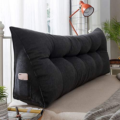 Triangular Reading Pillow,Big Soft Reading Pillow Triangle Back Cushion Pillow Headboard Back Cushion Wedge Pillow Cushion daybed Sofa Bed Office Chair-Velvet-Dark gray-L120Cm