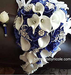 Made to order Brooch Bouquet Wedding Bridal Flowers Silk Flowers Real Touch Calla Lilies