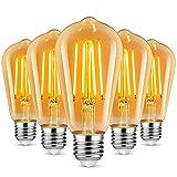 Defurhome Bombilla de Filamento LED E27, 6W (equivalente a 60W), 700LM, Luz Cálida, No Regulable,E27 Edison Vintage Bombilla de Filamento Antiguo LED Bombilla de Decorativa, Pack de 5