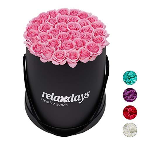 Relaxdays Rosenbox rund, 34 Rosen, stabile Flowerbox schwarz, lange haltbar, Geschenkidee, dekorative Blumenbox, rosa, 33 x 32 x 32 cm