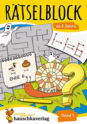 Rätselblock ab 8 Jahre, Band 1, A5-Block: Kunterbunter Rätselspaß: Labyrinthe, Fehler finden, Bilderrätsel, Punkte verbinden u.v.m. (Rätseln, knobeln, logisches Denken, Band 633)