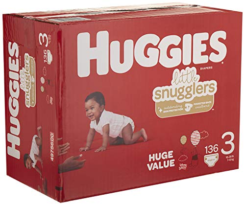 HUGGIES Little Snugglers Baby Diapers, Size 3 (16-28 Lb.), Huge Pack (Packaging May Vary), 136 Count