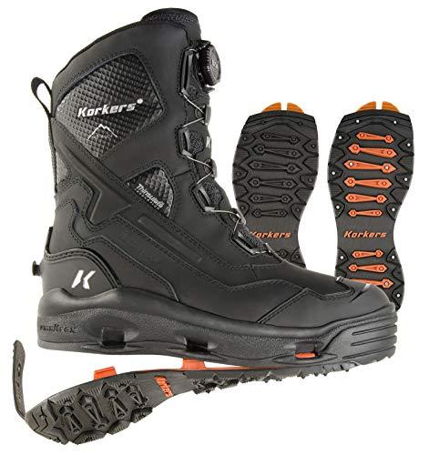 Korkers Men's Polar Vortex 600 Waterproof Leather, Rubber Snow Boots (10, Black)