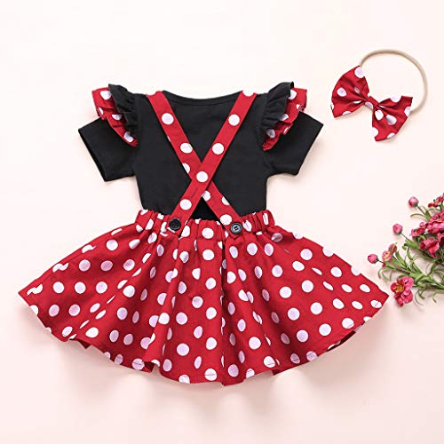 Conjuntos de Vestido de niña pequeña Camisa de Manga Corta con Volantes de Lunares + Falda con Tirantes + Conjuntos de Vestido con Diadema 110 Rojo 2-3 años