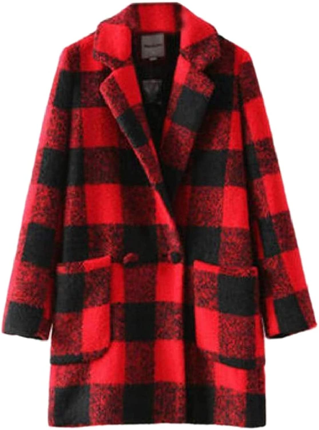 Women's Thick All Match Checkered Autumn Winter Simplicity Pea Coat