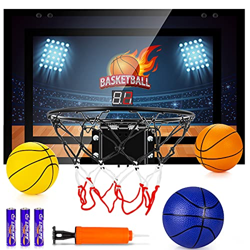 TREYWELL Indoor Basketball Hoop for Kids and Adults Door Room Basketball Hoop Mini Hoop with Electronic Scoreboard, 3 Balls and 3 Batteries Basketball Toys for 5 6 7 8 9 10 11 12 Year Old Boys Girls