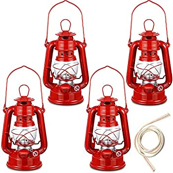 4 Pieces 8 Inch Small Hurricane Lantern Hanging Oil Lantern Oil Burning Lamp with Wick for Camping Hiking Backpacking Emergency Red