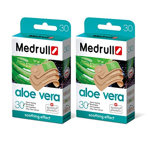 Medrull 60 Stück Wasserfest Pflaster mit Aloe Vera Extrakt 30x2 Packs