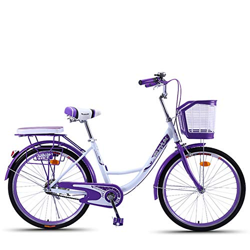 LINGYUN Single Speed City Comfort Bike, 24-Inch Women's Commuter Bike, Retro Classic Road Bike, Double Brakes, with Front Basket and Rear Seat Frame,Purple