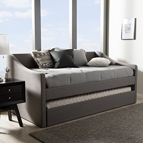 Baxton Studio Barnstorm Upholstered Daybed with Trundle in Gray