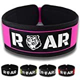 Roar Cinturón Lumbar Gimnasio, Cinturon Gimnasio Mujer, Cinturon Halterofilia, Powerlifting, Levantamiento Peso, Musculacion, Cinturon Gym Hombre, Cinturon Pesas (Rosa, XS)