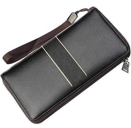 Heren retro PU portemonnee grote capaciteit multi-card rits handtas casual stijl geschikt voor alle gelegenheden