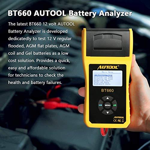 AUTOOL BT-660 12 V/24 V 100-3000 CCA Autobatterie-Tester für alle Autos, Kurbel- und Ladesystem, Diagnosegerät mit integriertem Thermodrucker