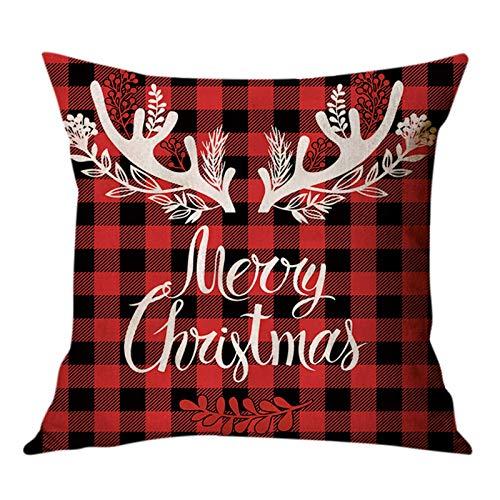 Weihnachten Kissenbezug, Weihnachtsbaum Schneeflocke Rentier Wohnkultur Leinen Dekokissen Cases Xmas Holiday Farmhouse Home Schlafzimmer Dekokissen 45×45cm (Style D)