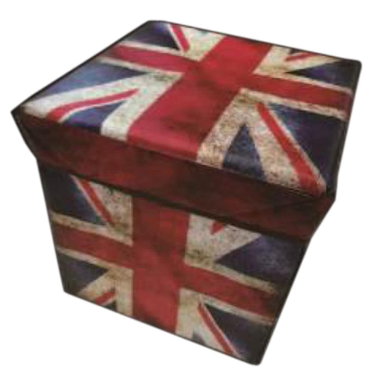 アマチュア要旨ビジョンチェア 収納BOX ボックスなイス 国旗柄 イギリス 31×31×31cm WJ-891