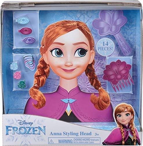 Smoby 7600320312 Frozen Anna Frisierkopf, Frisierpuppe, Styling-Kopf, für Kinder ab 3 Jahren, Bunt