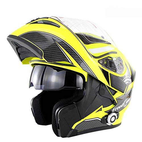 SUN HUIJIE Motocicleta de Casco de Bicicleta Bluetooth Incorporado Casco de Cara...
