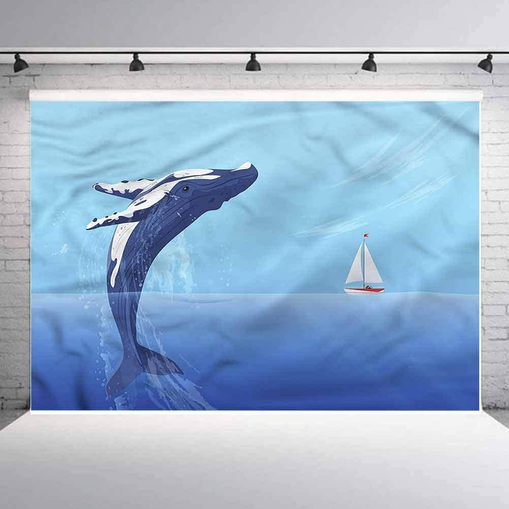8x8FT Vinyl Photography Backdrop,Whale,Jumping Humpback Huge Fish Photo Background for Photo Booth Studio Props