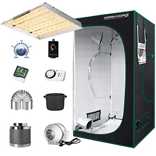MARS HYDRO Grow Tent Kit Complete TSW 2000W Led Grow Light 4x4FT Full Spectrum, 48'x48'x80' Hydroponics Growing Tent 1680D Canvas Indoor Grow Tent Room Kit with 6 Inch Ventilation System