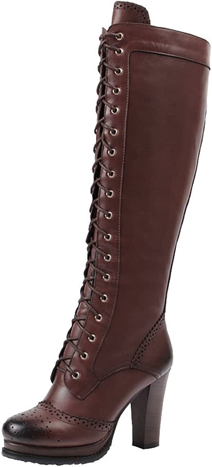 SaraIris Women Genuine Leather Chunky Heels Pointed Toe Lace up Vintage Knee High Boots