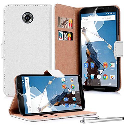 Shelfone® 100% vera pelle di vacchetta porta carte di portafoglio per Motorola/Google Nexus 6+ pennino e pellicola protettiva, Pelle, WHITE, MOTOROLA / GOOGLE NEXUS 6