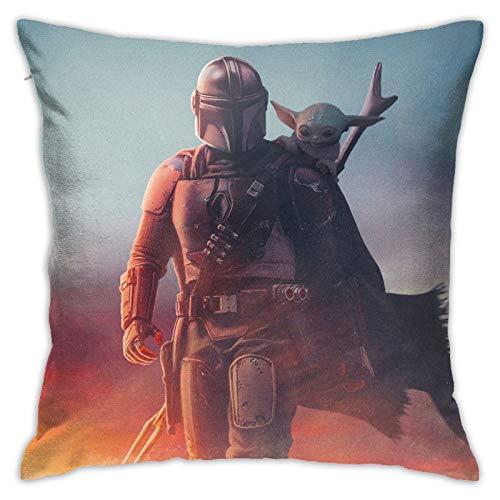 RVEVHGAHHA Baby Yoda Star The Wars - Funda de almohada de mandalorian supersuave, cuadrada, ligera, decoración del hogar con cremallera invisible, 45,7 x 45,7 cm.